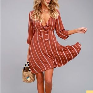AMUSE SOCIETY'S Let's Knot Rust Red Striped Dress